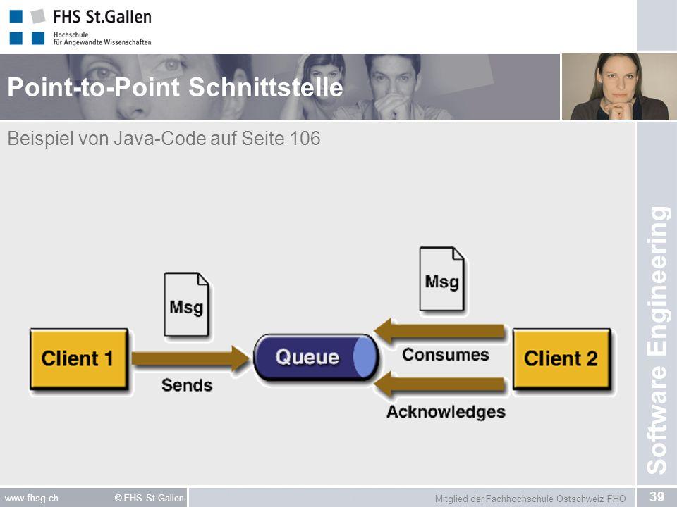 Mitglied der Fachhochschule Ostschweiz FHO 39 www.fhsg.ch © FHS St.Gallen Software Engineering Point-to-Point Schnittstelle Beispiel von Java-Code auf