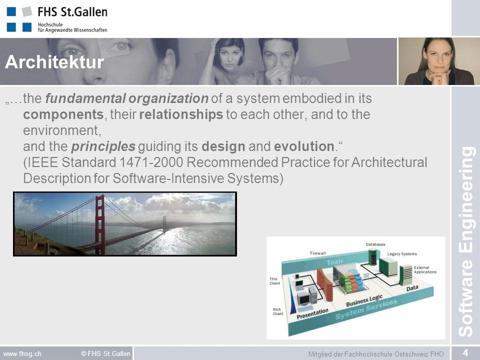 Mitglied der Fachhochschule Ostschweiz FHO 5 www.fhsg.ch © FHS St.Gallen Software Engineering Komponenten Komponenten sind Strukturelemente einer Softwarearchitektur.