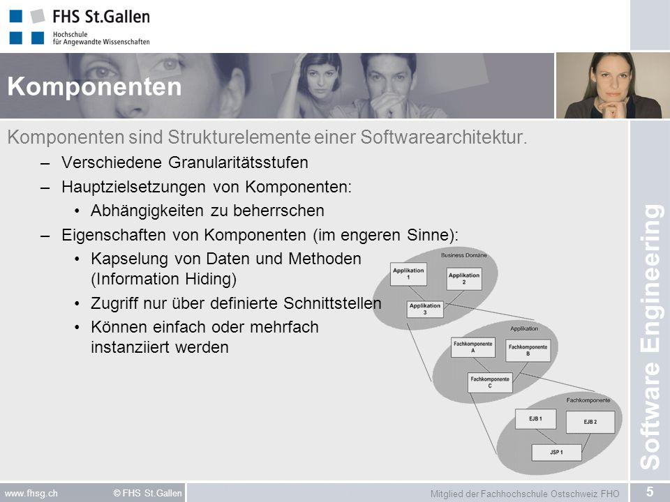 Mitglied der Fachhochschule Ostschweiz FHO 26 www.fhsg.ch © FHS St.Gallen Software Engineering Kategorisierung Kommunikationsorientierter Middleware Entfernter Aufruf (synchrone Kommunikation): –Prozedural: Remote Procedure Call (RPC) –Objektorientiert: Remote Method Invocation (RMI) Web-Services (SOAP) Nachrichtenorientierte Middleware (asynchrone Kommunikation) –Java Message Service (JMS) –MQSeries von IBM