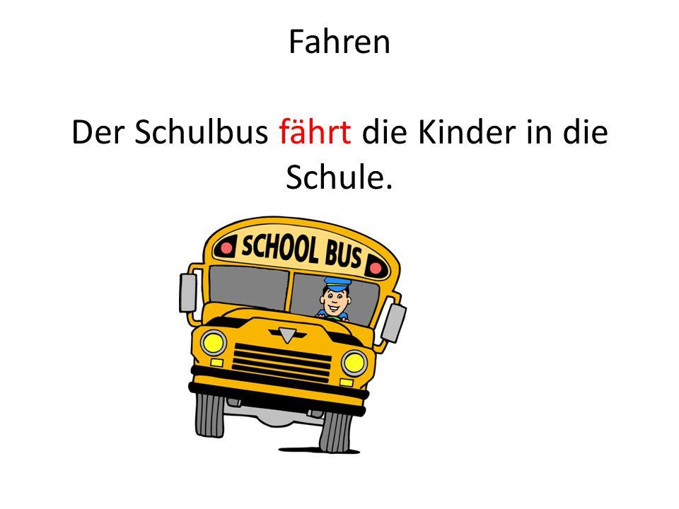 Fahren Der Schulbus fährt die Kinder in die Schule.