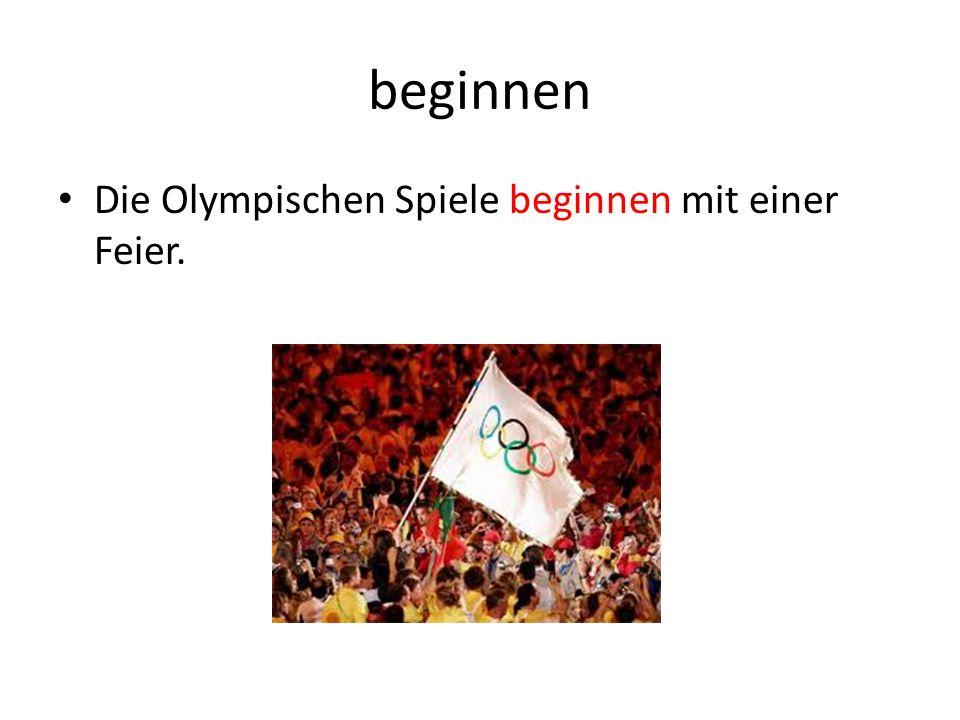 beginnen Die Olympischen Spiele beginnen mit einer Feier.