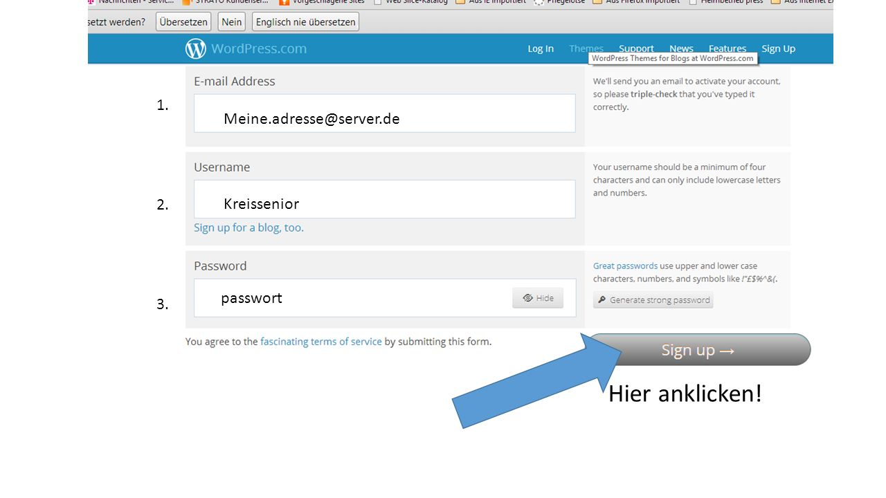 Meine.adresse@server.de Kreissenior passwort 1. 2. 3. Hier anklicken!