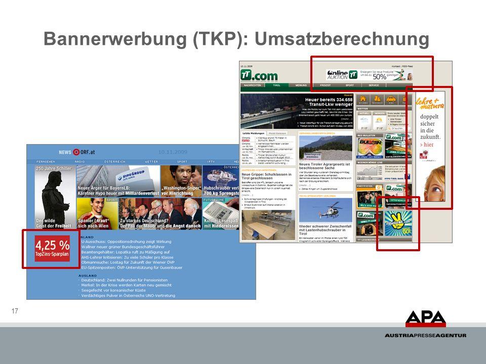 Bannerwerbung (TKP): Umsatzberechnung 17
