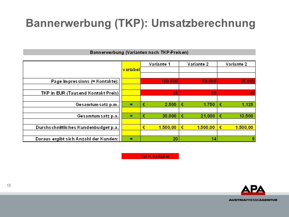 Bannerwerbung (TKP): Umsatzberechnung 19