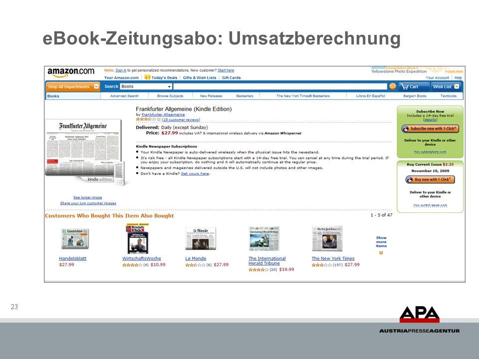 eBook-Zeitungsabo: Umsatzberechnung 23