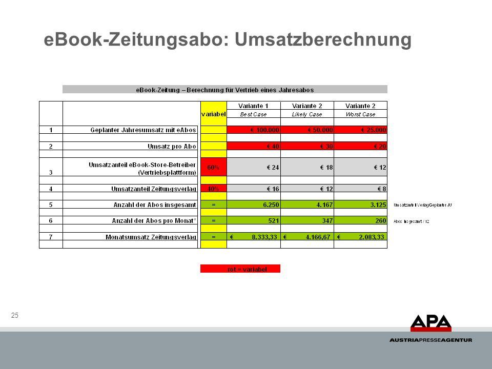 eBook-Zeitungsabo: Umsatzberechnung 25
