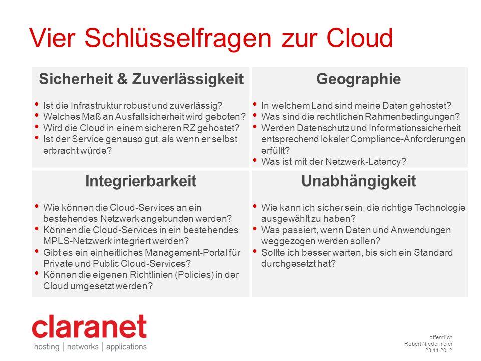 öffentlich Robert Niedermeier 23.11.2012 Vier Schlüsselfragen zur Cloud Sicherheit & Zuverlässigkeit Ist die Infrastruktur robust und zuverlässig? Wel