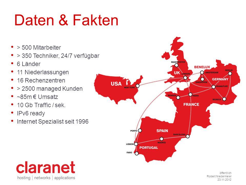 > 500 Mitarbeiter > 350 Techniker, 24/7 verfügbar 6 Länder 11 Niederlassungen 16 Rechenzentren > 2500 managed Kunden ~85m Umsatz 10 Gb Traffic / sek.