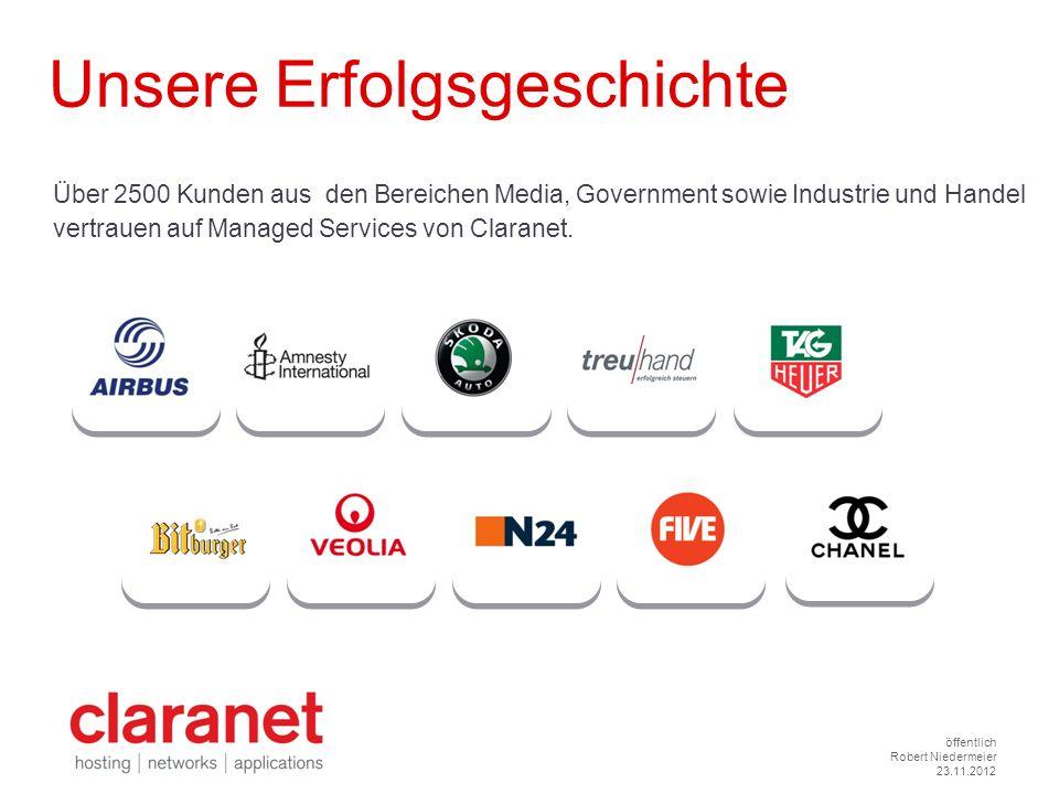 öffentlich Robert Niedermeier 23.11.2012 Über 2500 Kunden aus den Bereichen Media, Government sowie Industrie und Handel vertrauen auf Managed Service