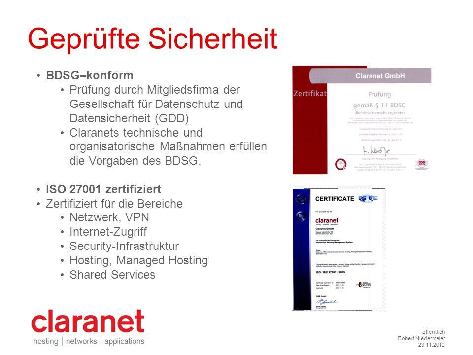 öffentlich Robert Niedermeier 23.11.2012 Geprüfte Sicherheit BDSG–konform Prüfung durch Mitgliedsfirma der Gesellschaft für Datenschutz und Datensiche