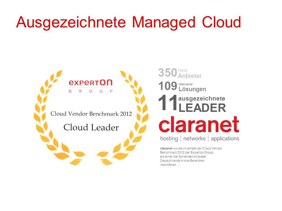öffentlich Robert Niedermeier 23.11.2012 Ausgezeichnete Managed Cloud claranet wurde innerhalb der Cloud Vendor Benchmark 2012 der Experton Group als
