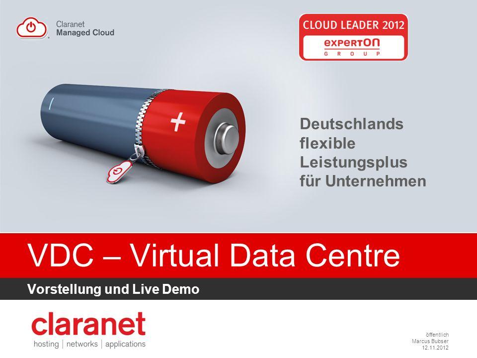 öffentlich Marcus Bubser 12.11.2012 VDC – Virtual Data Centre Vorstellung und Live Demo Deutschlands flexible Leistungsplus für Unternehmen