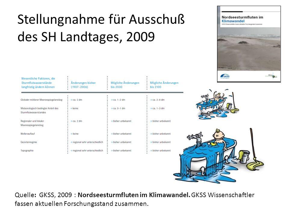 Quelle: GKSS, 2009 : Nordseesturmfluten im Klimawandel. GKSS Wissenschaftler fassen aktuellen Forschungsstand zusammen. Stellungnahme für Ausschuß des