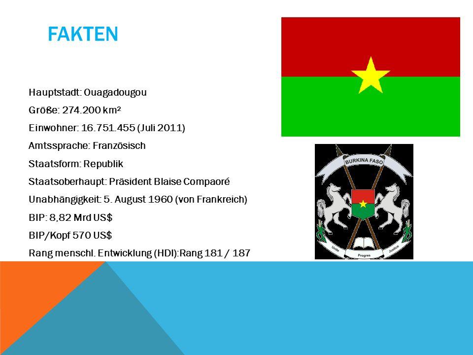 FAKTEN Hauptstadt: Ouagadougou Größe: 274.200 km² Einwohner: 16.751.455 (Juli 2011) Amtssprache: Französisch Staatsform: Republik Staatsoberhaupt: Prä