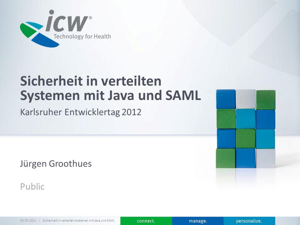 / x SAML Architektur 09.05.2012Sicherheit in verteilten Systemen mit Java und SAML 12 Assertion mit Attributen Assertion Issuer Subject Conditions AuthnStatement Signature...