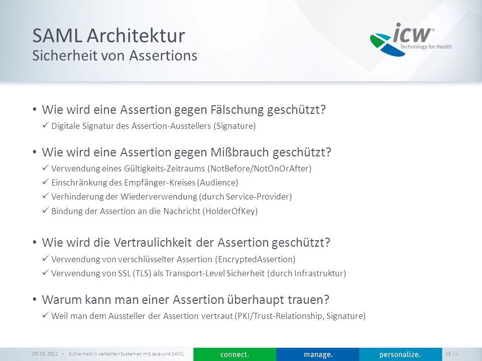 / x SAML Architektur Sicherheit in verteilten Systemen mit Java und SAML 15 Sicherheit von Assertions 09.05.2012 Wie wird eine Assertion gegen Fälschu