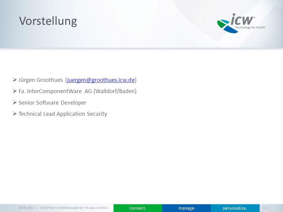 / x Beispiel-Anwendung Sicherheit in verteilten Systemen mit Java und SAML 43 Web Service Security 09.05.2012 https://github.com/groothues/mysaml