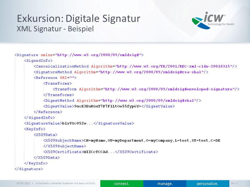 / x Exkursion: Digitale Signatur Sicherheit in verteilten Systemen mit Java und SAML 24 XML Signatur - Beispiel 09.05.2012