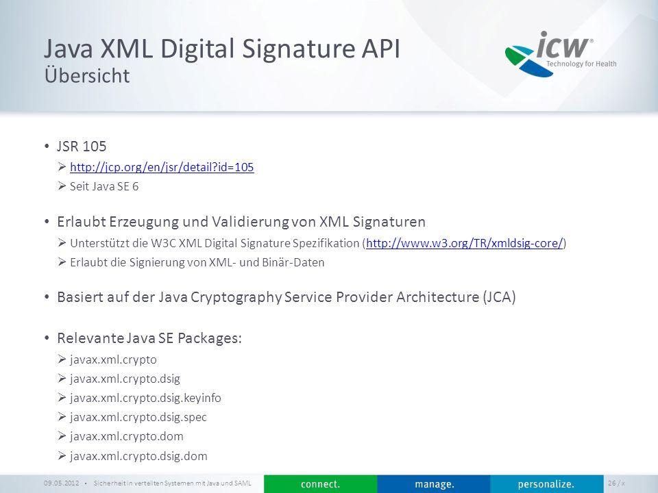 / x Java XML Digital Signature API Sicherheit in verteilten Systemen mit Java und SAML 26 Übersicht 09.05.2012 JSR 105 http://jcp.org/en/jsr/detail?id