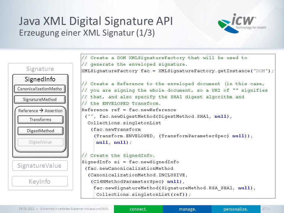 / x Java XML Digital Signature API Sicherheit in verteilten Systemen mit Java und SAML 27 Erzeugung einer XML Signatur (1/3) 09.05.2012 Signature KeyI