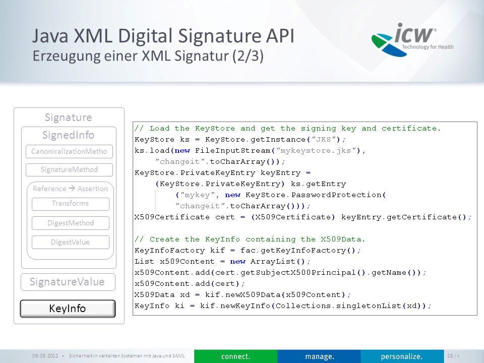 / x Java XML Digital Signature API Sicherheit in verteilten Systemen mit Java und SAML 28 Erzeugung einer XML Signatur (2/3) 09.05.2012 Signature KeyI