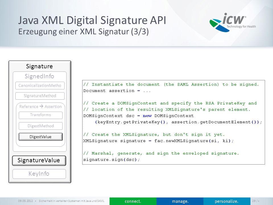 / x Java XML Digital Signature API Sicherheit in verteilten Systemen mit Java und SAML 29 Erzeugung einer XML Signatur (3/3) 09.05.2012 Signature Sign
