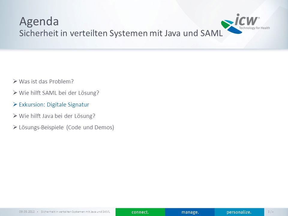 / x Agenda Sicherheit in verteilten Systemen mit Java und SAML Was ist das Problem? Wie hilft SAML bei der Lösung? Exkursion: Digitale Signatur Wie hi