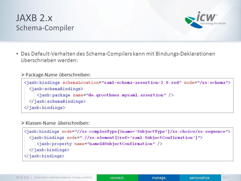 / x JAXB 2.x Sicherheit in verteilten Systemen mit Java und SAML 34 Schema-Compiler 09.05.2012 Das Default-Verhalten des Schema-Compilers kann mit Bin