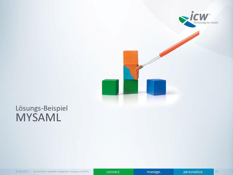 / x MYSAML Lösungs-Beispiel 09.05.2012Sicherheit in verteilten Systemen mit Java und SAML 36