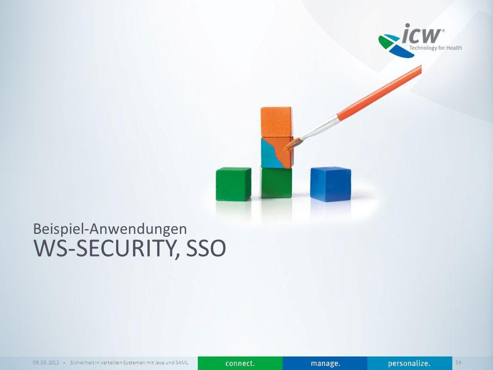 / x WS-SECURITY, SSO Beispiel-Anwendungen 09.05.2012Sicherheit in verteilten Systemen mit Java und SAML 39