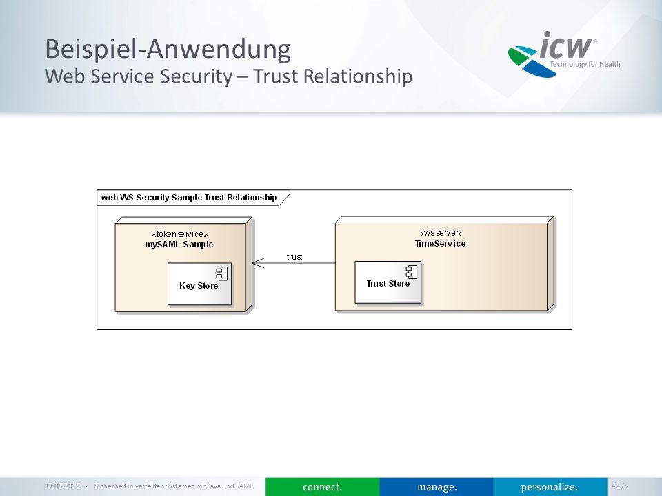 / x Beispiel-Anwendung Sicherheit in verteilten Systemen mit Java und SAML 42 Web Service Security – Trust Relationship 09.05.2012