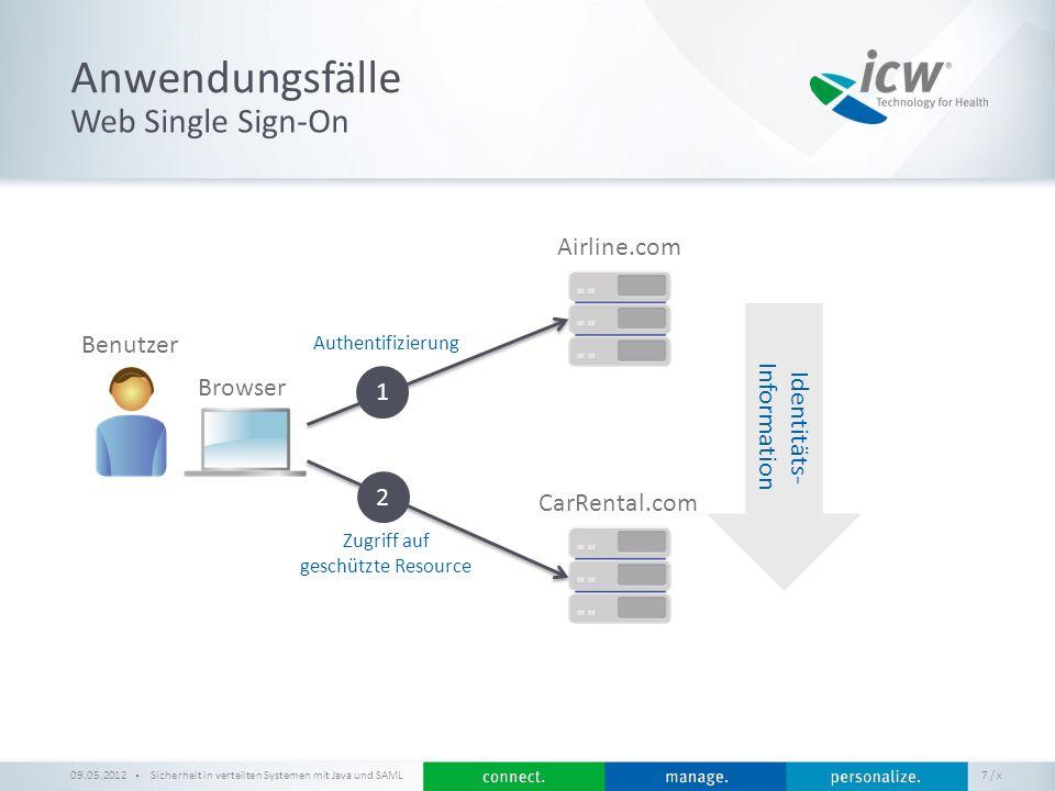 / x Anwendungsfälle 09.05.2012Sicherheit in verteilten Systemen mit Java und SAML 7 Web Single Sign-On Airline.com CarRental.com Authentifizierung Zug