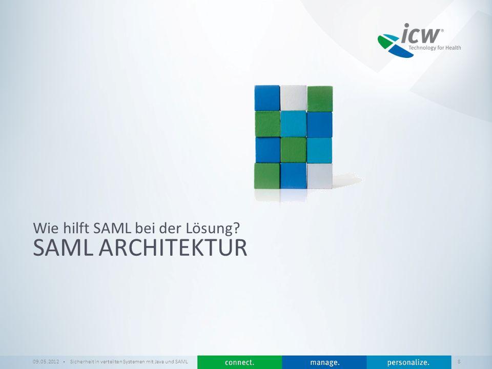/ x SAML ARCHITEKTUR Wie hilft SAML bei der Lösung? 09.05.2012Sicherheit in verteilten Systemen mit Java und SAML 8
