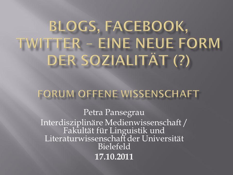 Petra Pansegrau Interdisziplinäre Medienwissenschaft / Fakultät für Linguistik und Literaturwissenschaft der Universität Bielefeld 17.10.2011