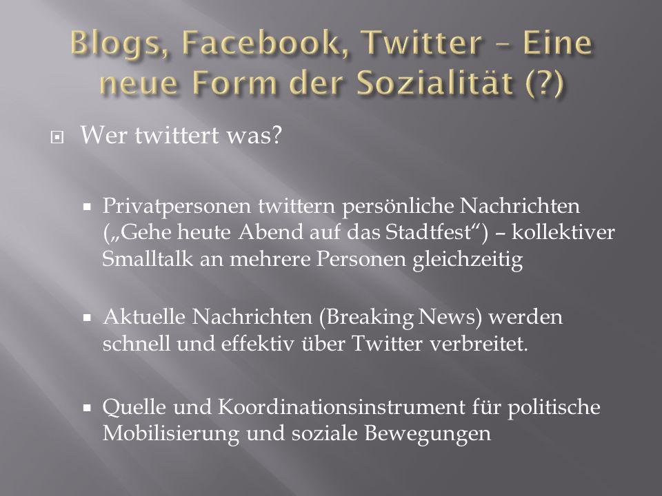 Wer twittert was? Privatpersonen twittern persönliche Nachrichten (Gehe heute Abend auf das Stadtfest) – kollektiver Smalltalk an mehrere Personen gle