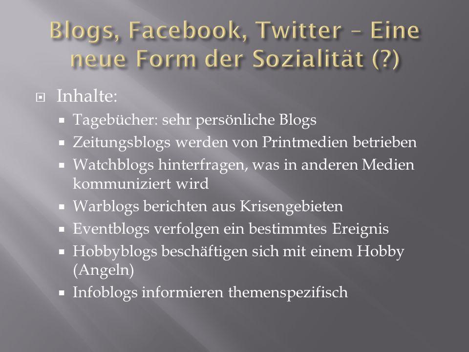 Inhalte: Tagebücher: sehr persönliche Blogs Zeitungsblogs werden von Printmedien betrieben Watchblogs hinterfragen, was in anderen Medien kommuniziert