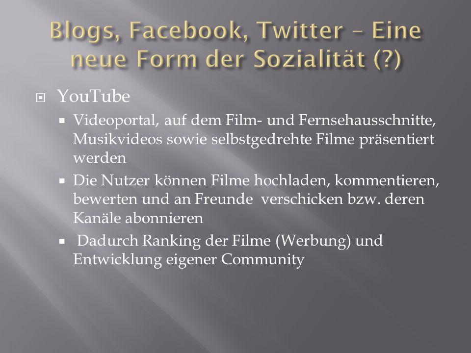 YouTube Videoportal, auf dem Film- und Fernsehausschnitte, Musikvideos sowie selbstgedrehte Filme präsentiert werden Die Nutzer können Filme hochladen