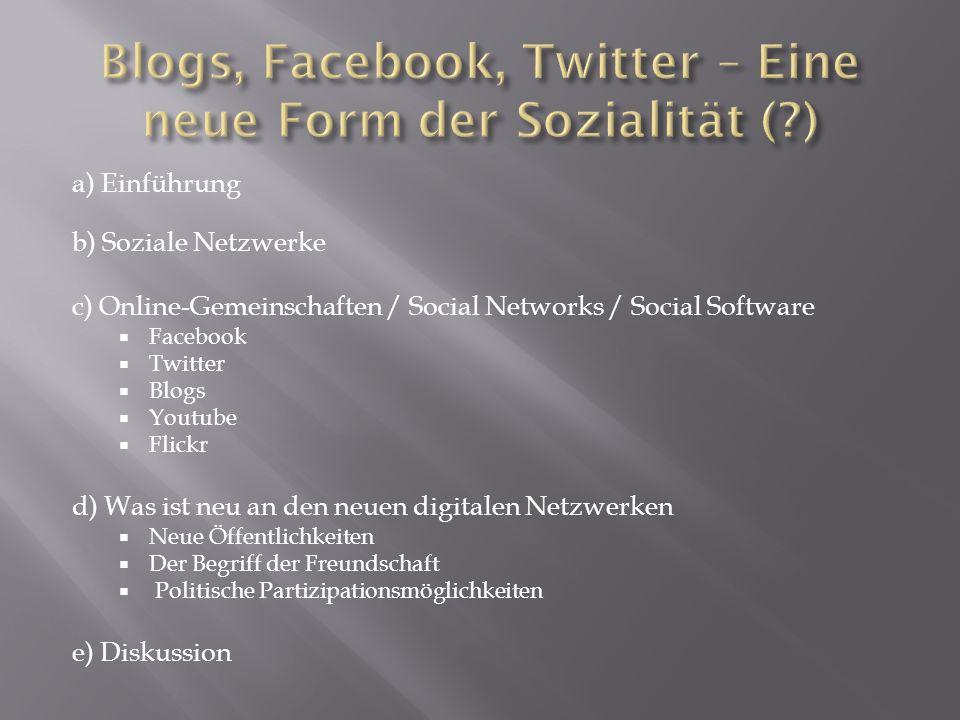 a) Einführung b) Soziale Netzwerke c) Online-Gemeinschaften / Social Networks / Social Software Facebook Twitter Blogs Youtube Flickr d) Was ist neu a