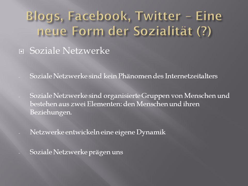 Soziale Netzwerke - Soziale Netzwerke sind kein Phänomen des Internetzeitalters - Soziale Netzwerke sind organisierte Gruppen von Menschen und bestehe