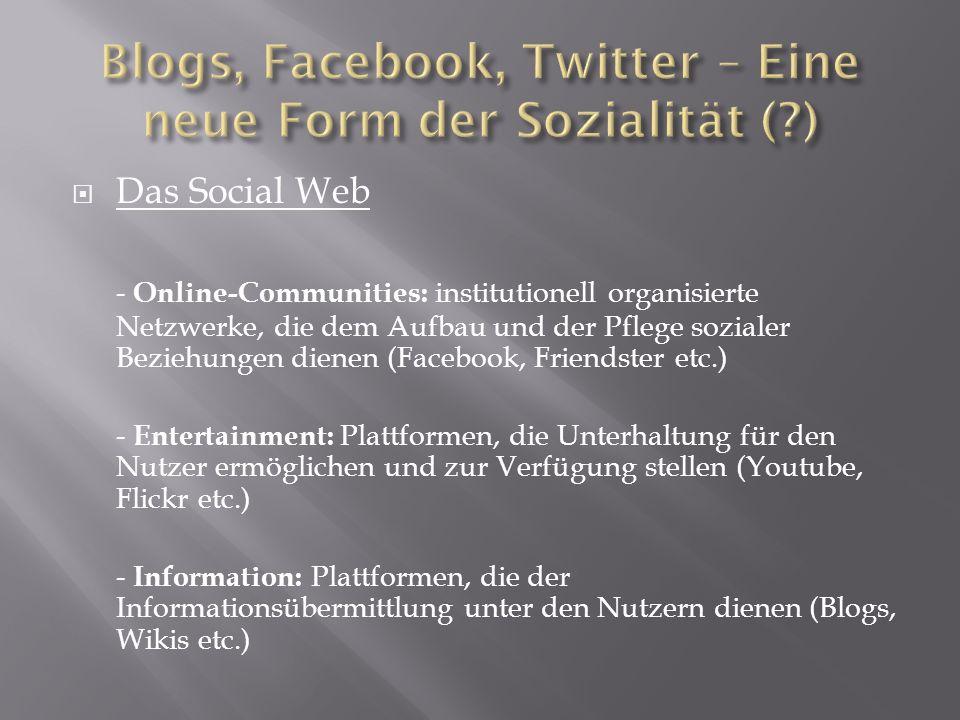 Das Social Web - Online-Communities: institutionell organisierte Netzwerke, die dem Aufbau und der Pflege sozialer Beziehungen dienen (Facebook, Frien