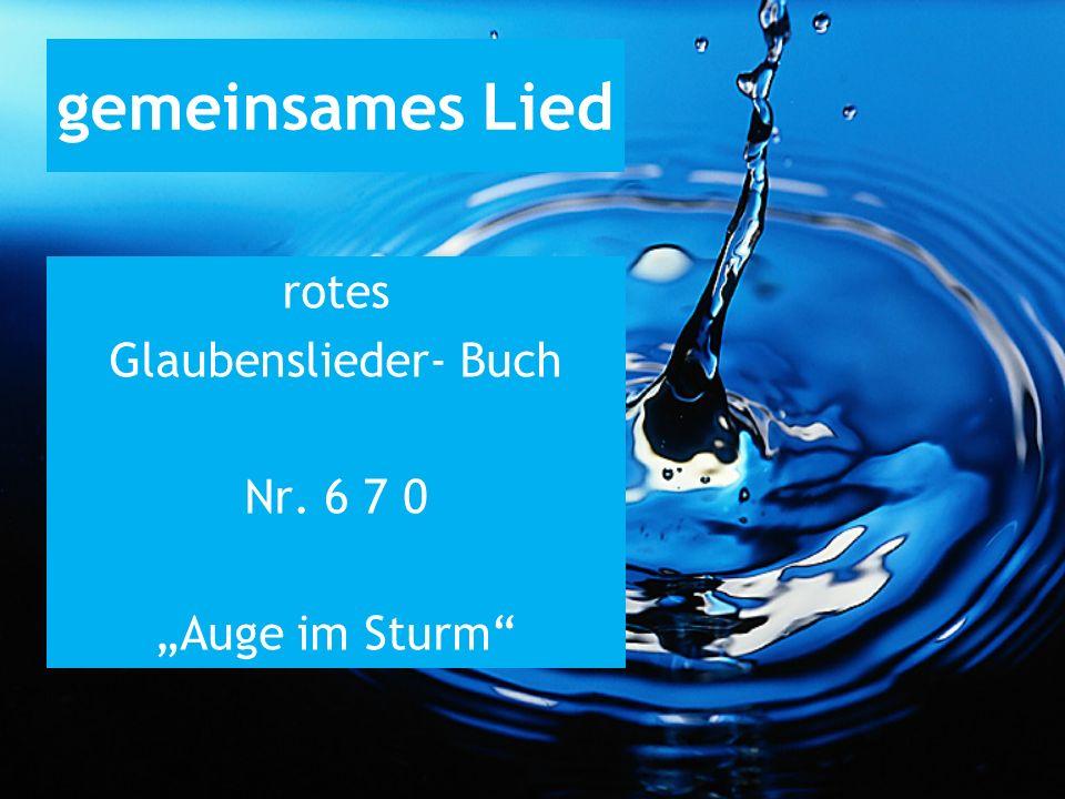 gemeinsames Lied rotes Glaubenslieder- Buch Nr. 6 7 0 Auge im Sturm