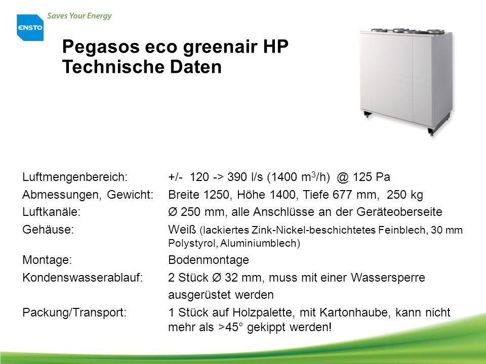 Pegasos eco greenair HP Technische Daten Luftmengenbereich: +/- 120 -> 390 l/s (1400 m 3 /h) @ 125 Pa Abmessungen, Gewicht: Breite 1250, Höhe 1400, Tiefe 677 mm, 250 kg Luftkanäle: Ø 250 mm, alle Anschlüsse an der Geräteoberseite Gehäuse:Weiß (lackiertes Zink-Nickel-beschichtetes Feinblech, 30 mm Polystyrol, Aluminiumblech) Montage: Bodenmontage Kondenswasserablauf: 2 Stück Ø 32 mm, muss mit einer Wassersperre ausgerüstet werden Packung/Transport: 1 Stück auf Holzpalette, mit Kartonhaube, kann nicht mehr als >45° gekippt werden!