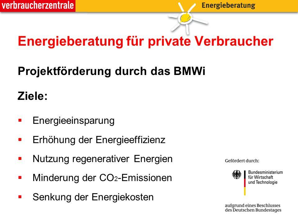 Energieberatung für private Verbraucher Projektförderung durch das BMWi Ziele: Energieeinsparung Erhöhung der Energieeffizienz Nutzung regenerativer E