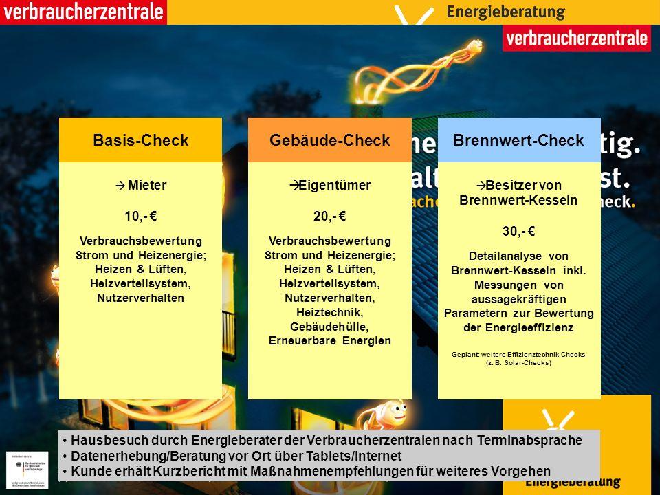 Mieter 10,- Verbrauchsbewertung Strom und Heizenergie; Heizen & Lüften, Heizverteilsystem, Nutzerverhalten Basis-Check Eigentümer 20,- Verbrauchsbewer
