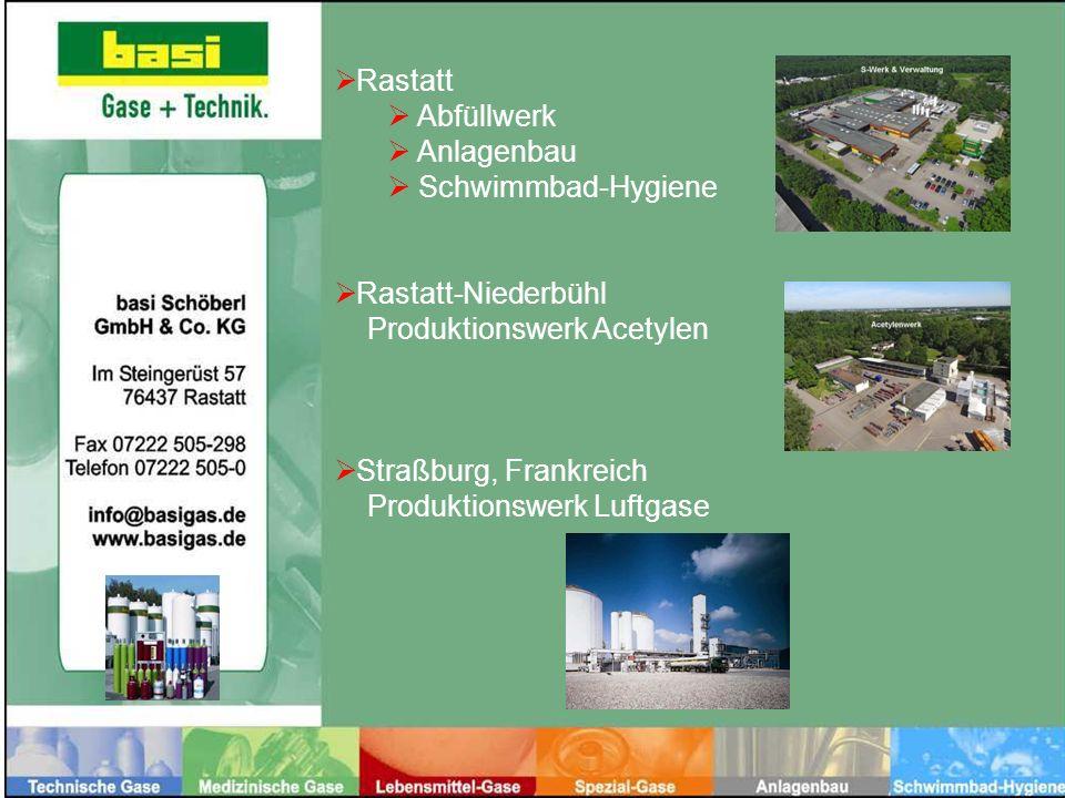 Abfüllwerk Anlagenbau Schwimmbad-Hygiene Rastatt-Niederbühl Produktionswerk Acetylen Straßburg, Frankreich Produktionswerk Luftgase