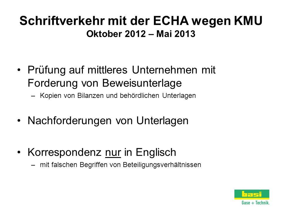 Schriftverkehr mit der ECHA wegen KMU Oktober 2012 – Mai 2013 Prüfung auf mittleres Unternehmen mit Forderung von Beweisunterlage –Kopien von Bilanzen