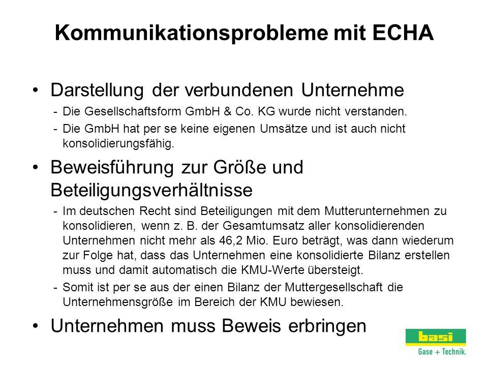 Kommunikationsprobleme mit ECHA Darstellung der verbundenen Unternehme -Die Gesellschaftsform GmbH & Co. KG wurde nicht verstanden. -Die GmbH hat per