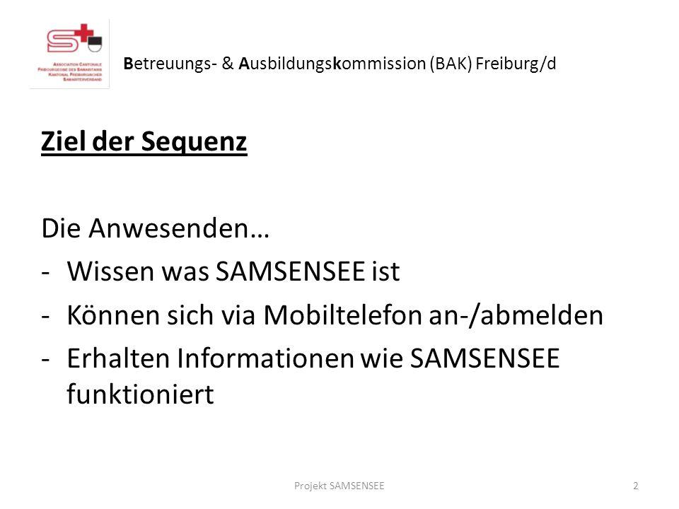 Ziel der Sequenz Die Anwesenden… -Wissen was SAMSENSEE ist -Können sich via Mobiltelefon an-/abmelden -Erhalten Informationen wie SAMSENSEE funktioniert 2Projekt SAMSENSEE