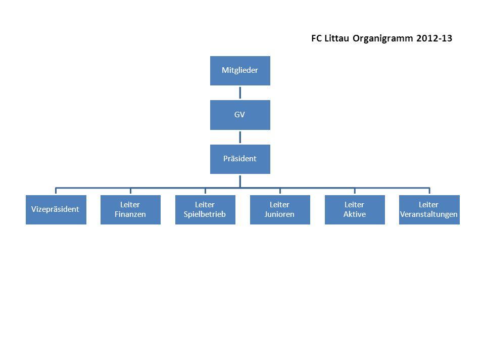 Mitglieder Vizepräsident Leiter Finanzen Leiter Spielbetrieb Leiter Junioren Leiter Aktive Leiter Veranstaltungen Präsident GV FC Littau Organigramm 2