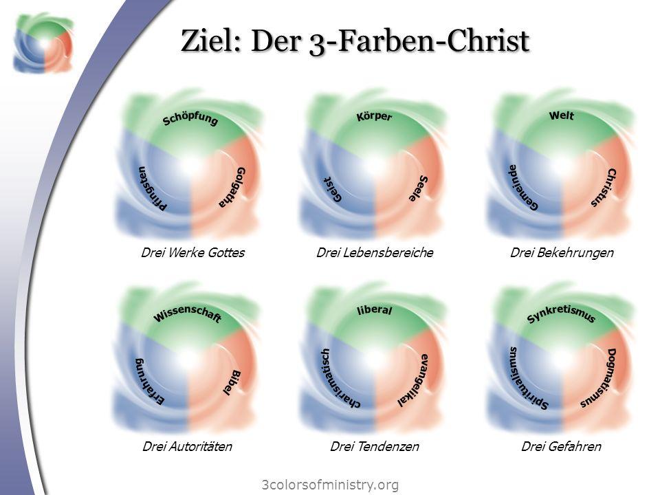 Ziel: Der 3-Farben-Christ 3colorsofministry.org Drei Werke GottesDrei LebensbereicheDrei BekehrungenDrei AutoritätenDrei TendenzenDrei Gefahren
